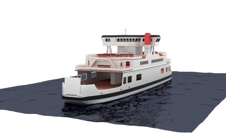 Small River Ferry royalty-free 3d model - Preview no. 6