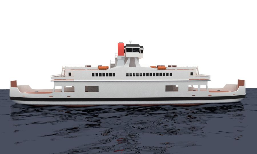 Small River Ferry royalty-free 3d model - Preview no. 5