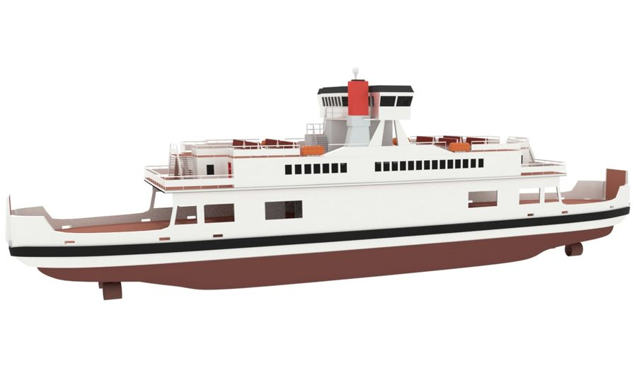 Small River Ferry royalty-free 3d model - Preview no. 3