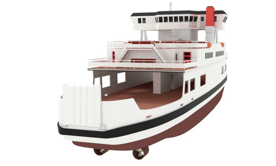 Small River Ferry royalty-free 3d model - Preview no. 4