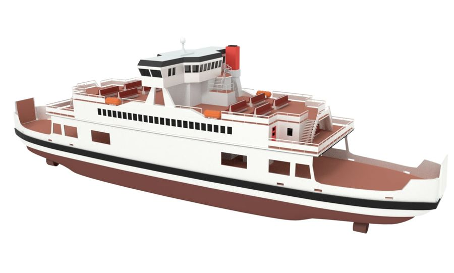 Small River Ferry royalty-free 3d model - Preview no. 1