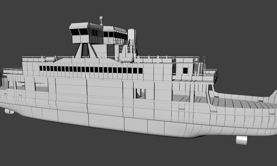 Small River Ferry royalty-free 3d model - Preview no. 7