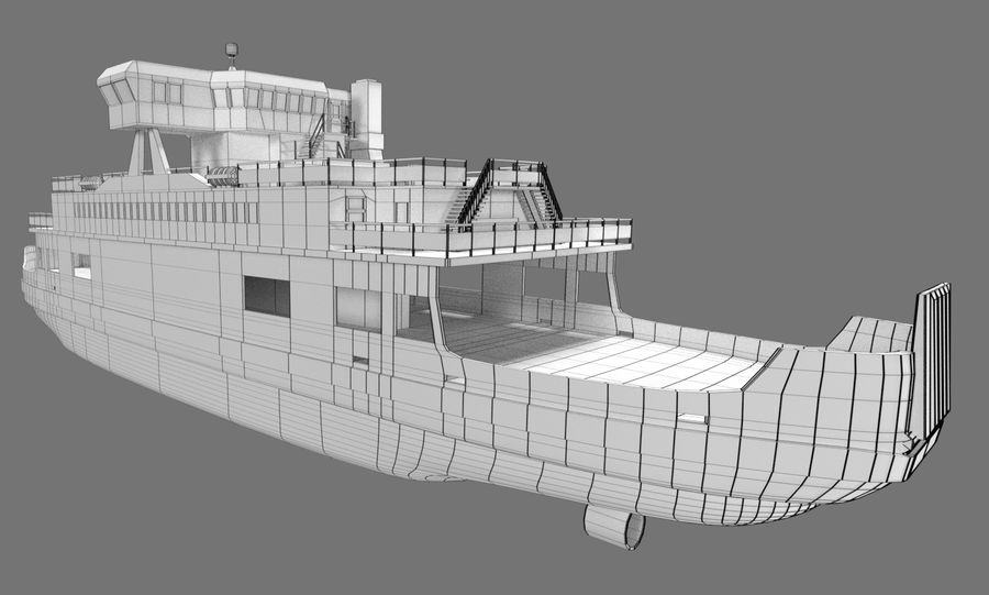 Small River Ferry royalty-free 3d model - Preview no. 8