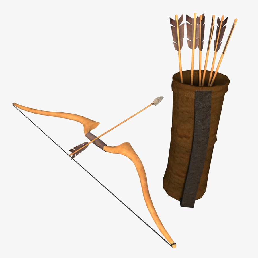 Low Poly Bow Arrow and Quiver 3D Model $10 - .3ds .dae .obj .fbx ...