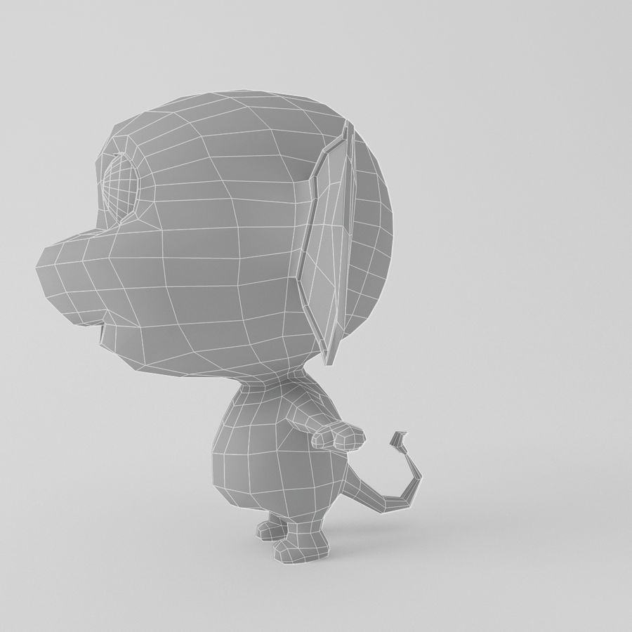 Cartoon monkey royalty-free 3d model - Preview no. 8