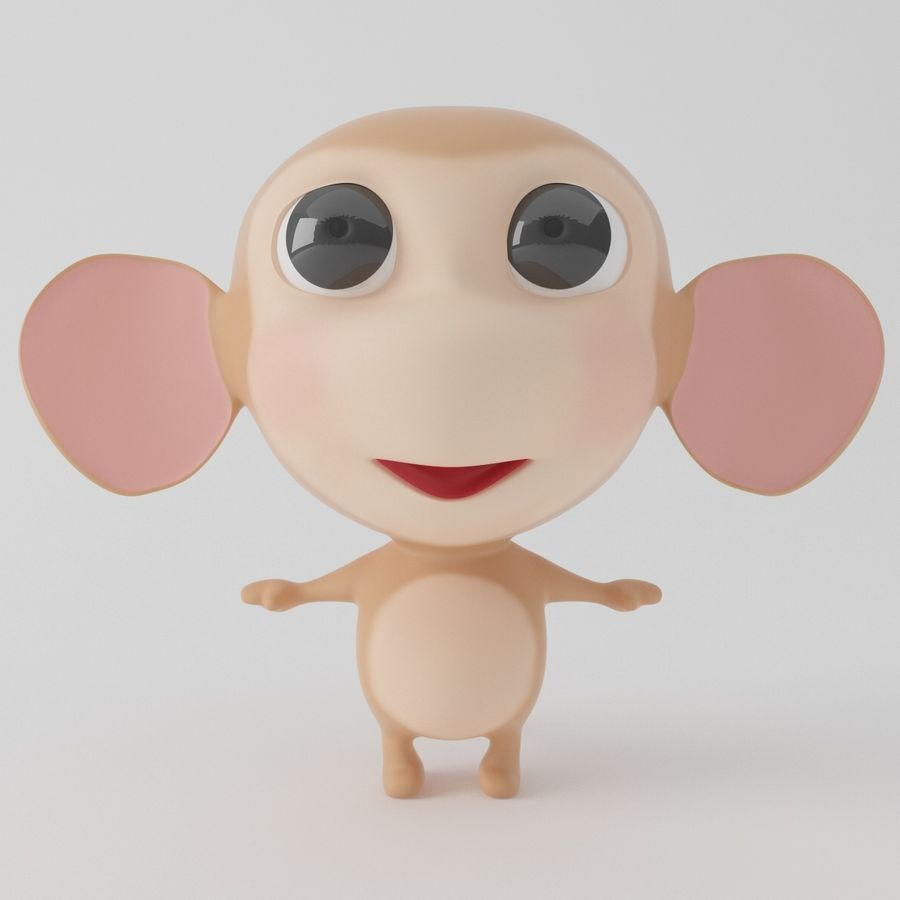 Cartoon monkey royalty-free 3d model - Preview no. 5