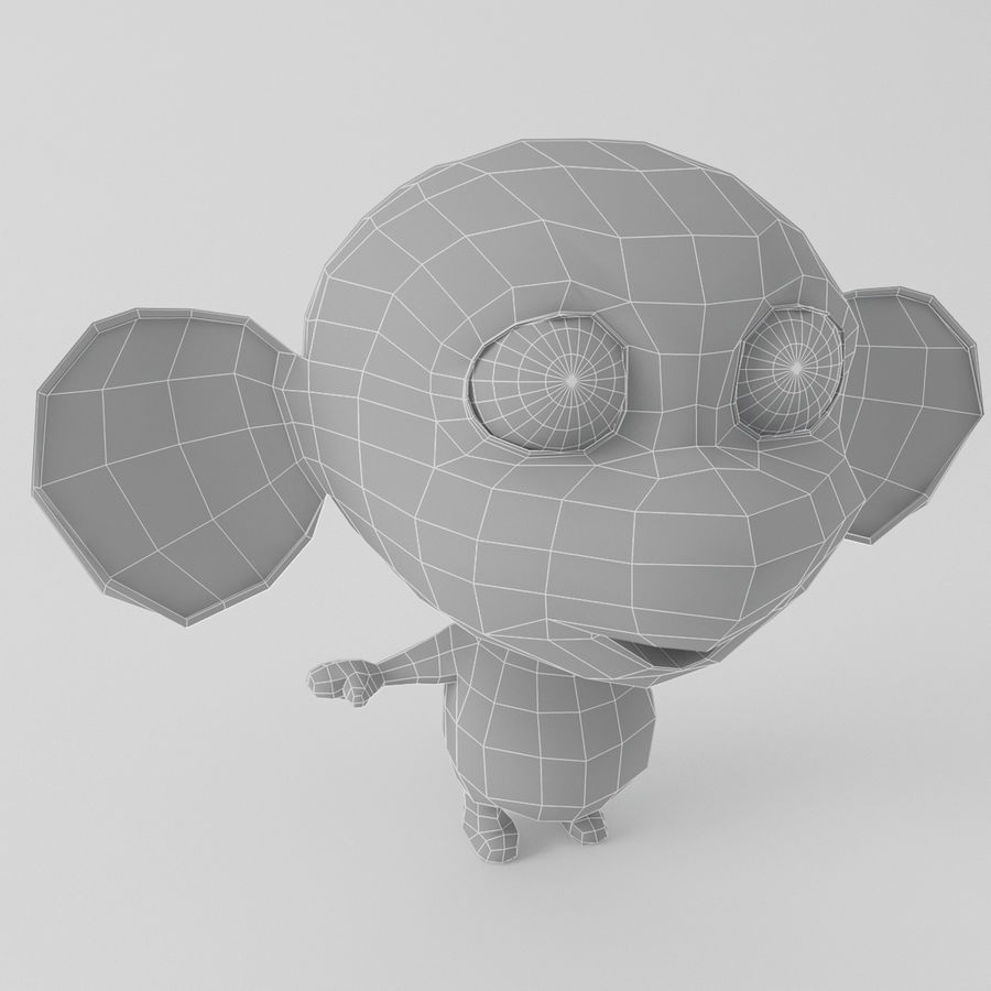 Cartoon monkey royalty-free 3d model - Preview no. 10