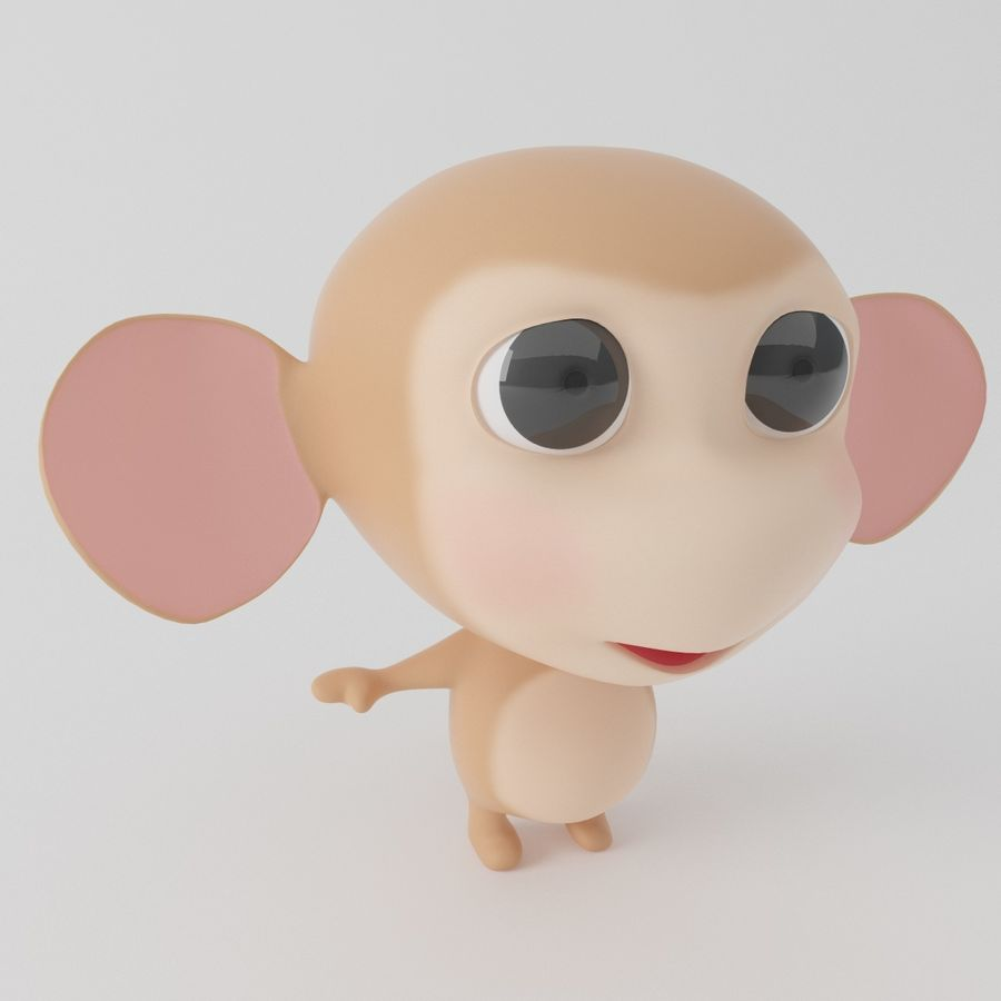Cartoon monkey royalty-free 3d model - Preview no. 9