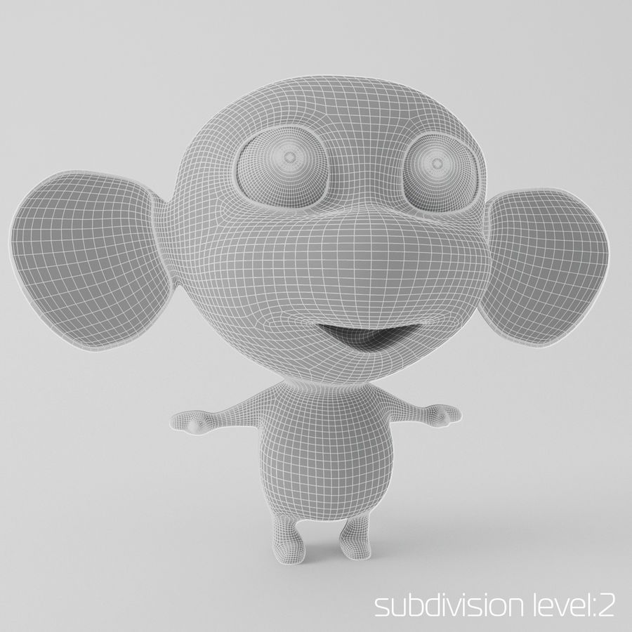 Cartoon monkey royalty-free 3d model - Preview no. 4