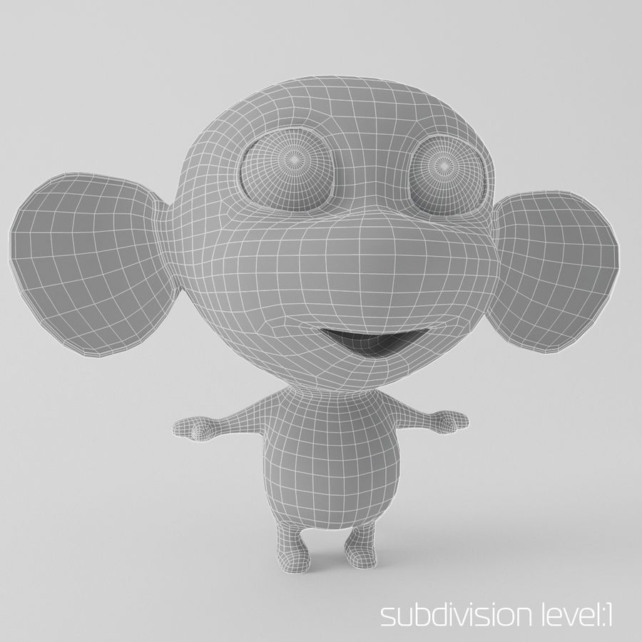 Cartoon monkey royalty-free 3d model - Preview no. 3