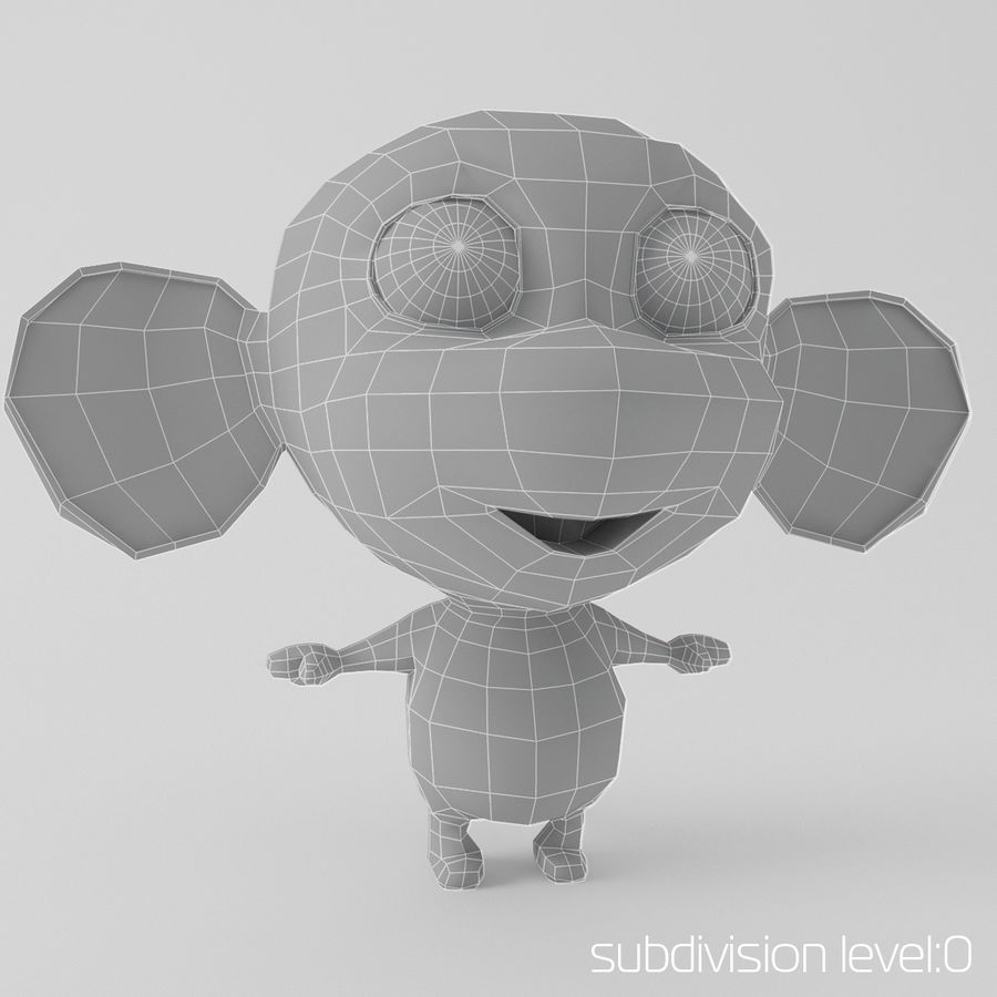 Cartoon monkey royalty-free 3d model - Preview no. 2