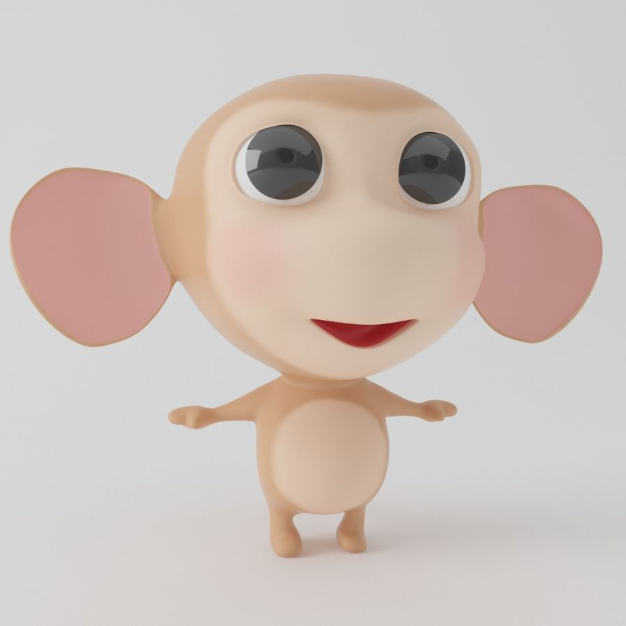 Cartoon monkey royalty-free 3d model - Preview no. 1