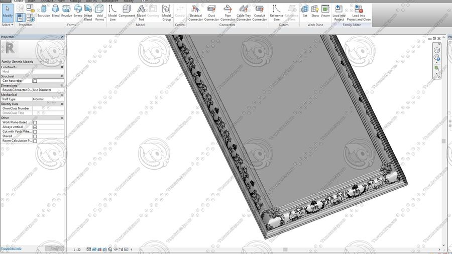 Classic Architecture Scene Revit royalty-free 3d model - Preview no. 13