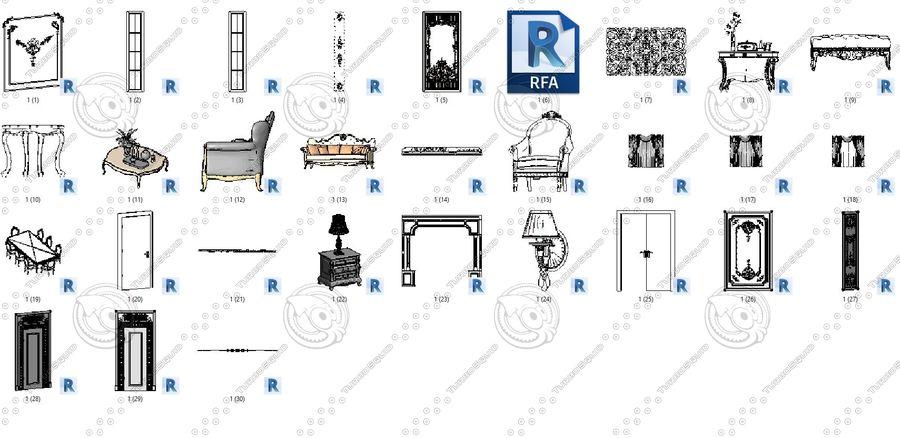 Classic Architecture Scene Revit royalty-free 3d model - Preview no. 11