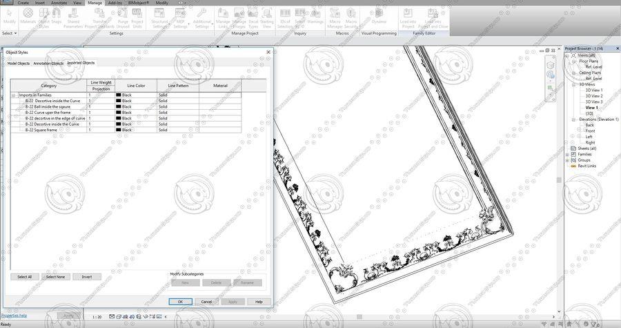 Classic Architecture Scene Revit royalty-free 3d model - Preview no. 10