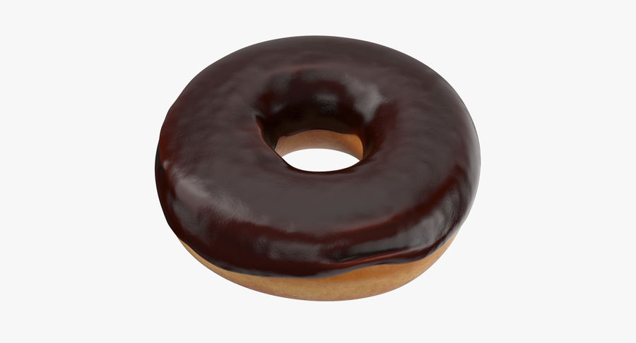 Donut 02 - Chocolate royalty-free 3d model - Preview no. 2