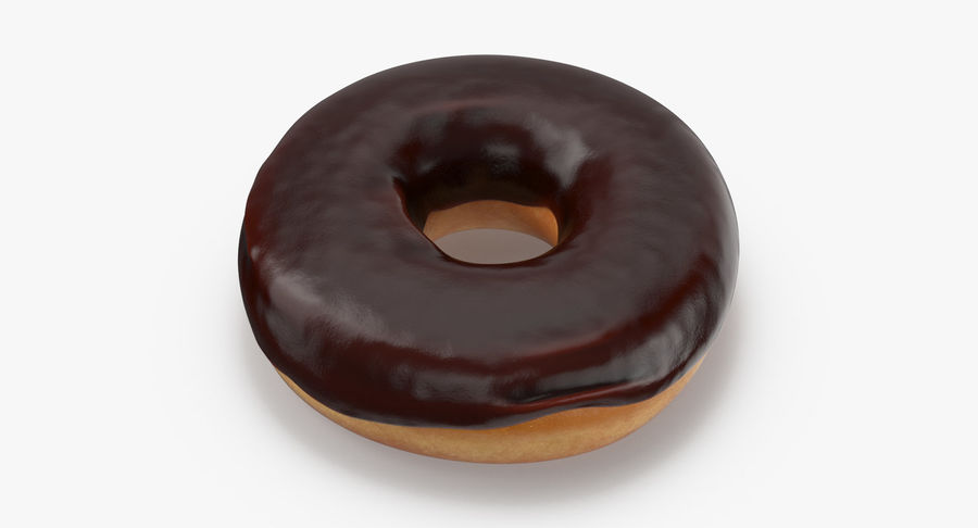 Donut 02 - Chocolate royalty-free 3d model - Preview no. 3