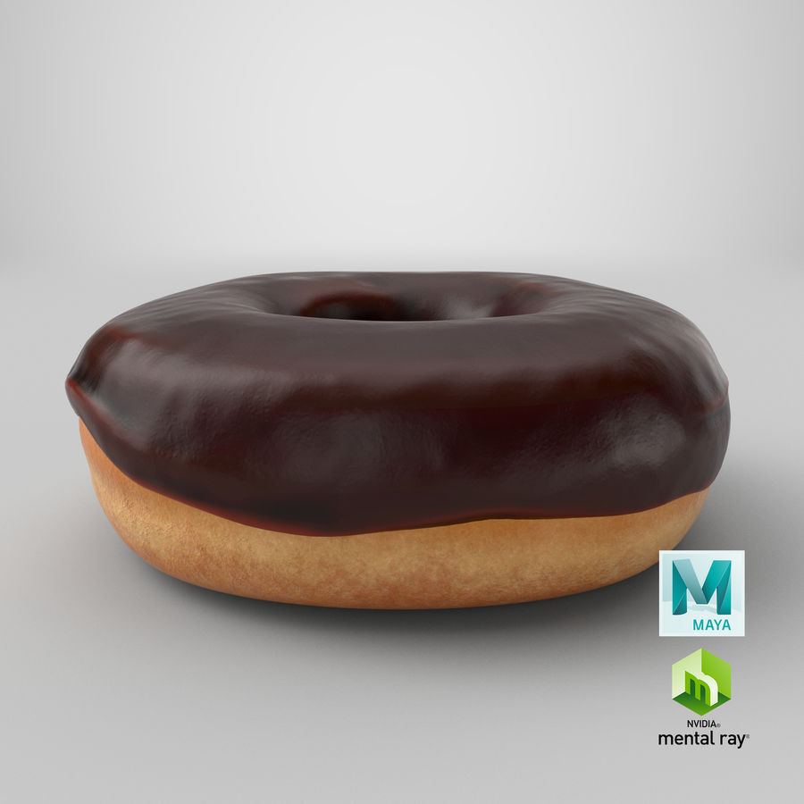 Donut 02 - Chocolate royalty-free 3d model - Preview no. 22