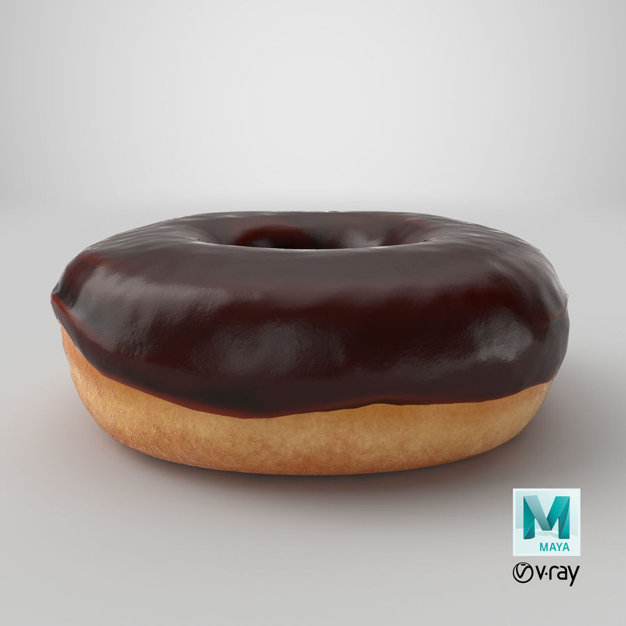 Donut 02 - Chocolate royalty-free 3d model - Preview no. 21
