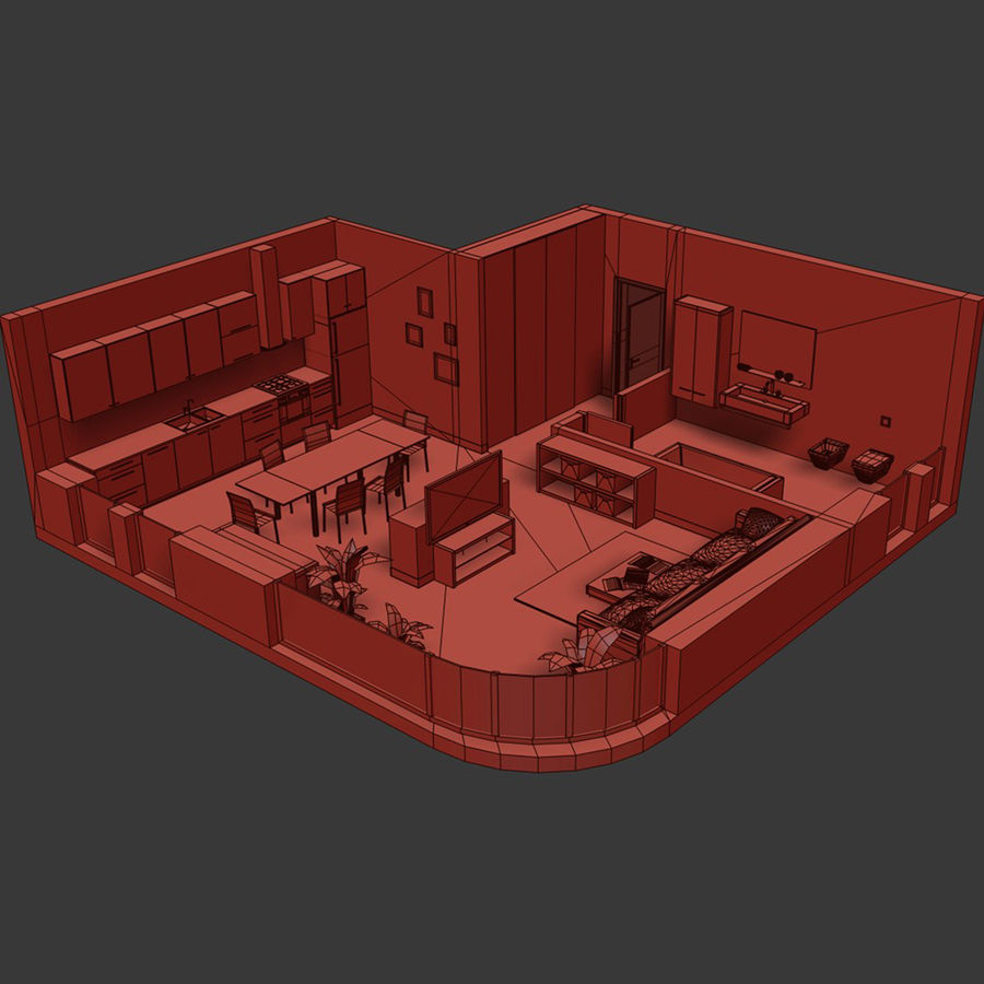 Low poly Interior VR / AR royalty-free 3d model - Preview no. 4