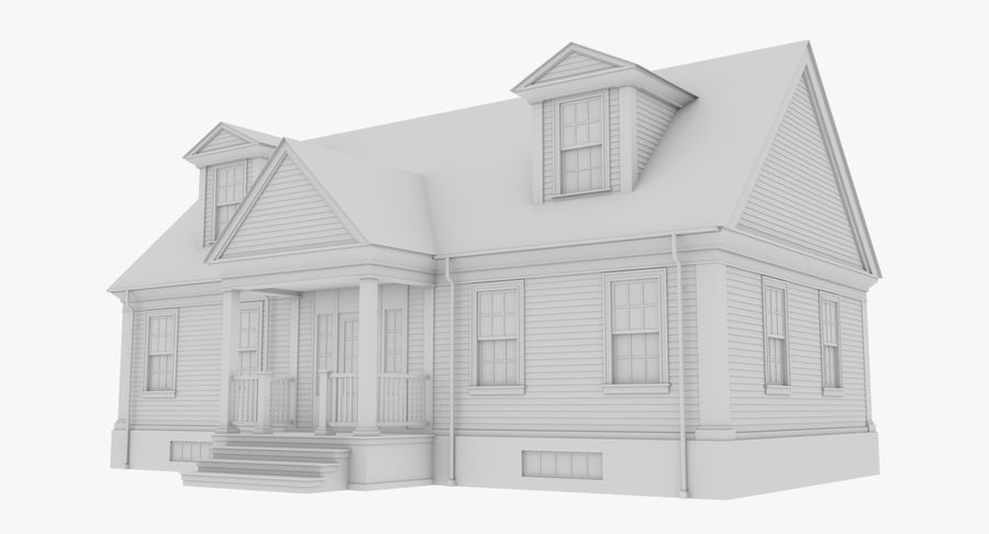 Colonial House 9 Bare Bones Version royalty-free 3d model - Preview no. 2