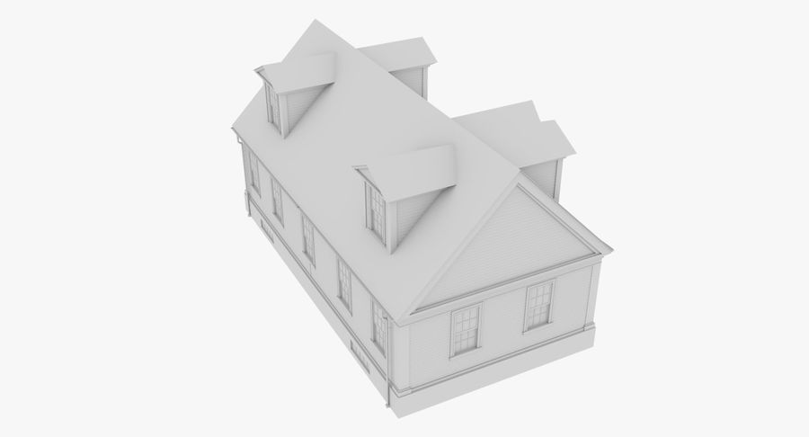 Colonial House 9 Bare Bones Version royalty-free 3d model - Preview no. 10