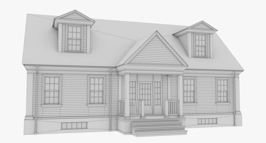 Colonial House 9 Bare Bones Version royalty-free 3d model - Preview no. 16