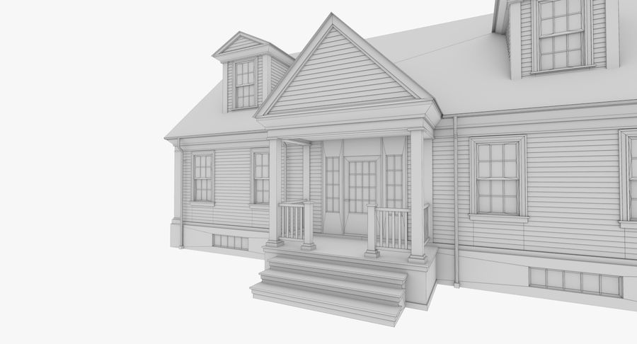 Colonial House 9 Bare Bones Version royalty-free 3d model - Preview no. 15