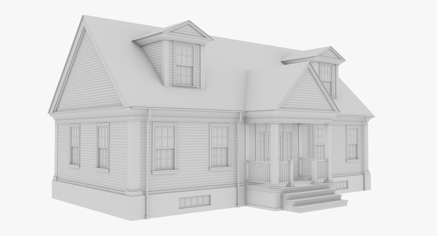 Colonial House 9 Bare Bones Version royalty-free 3d model - Preview no. 4