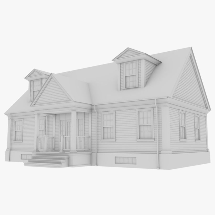 Colonial House 9 Bare Bones Version royalty-free 3d model - Preview no. 1