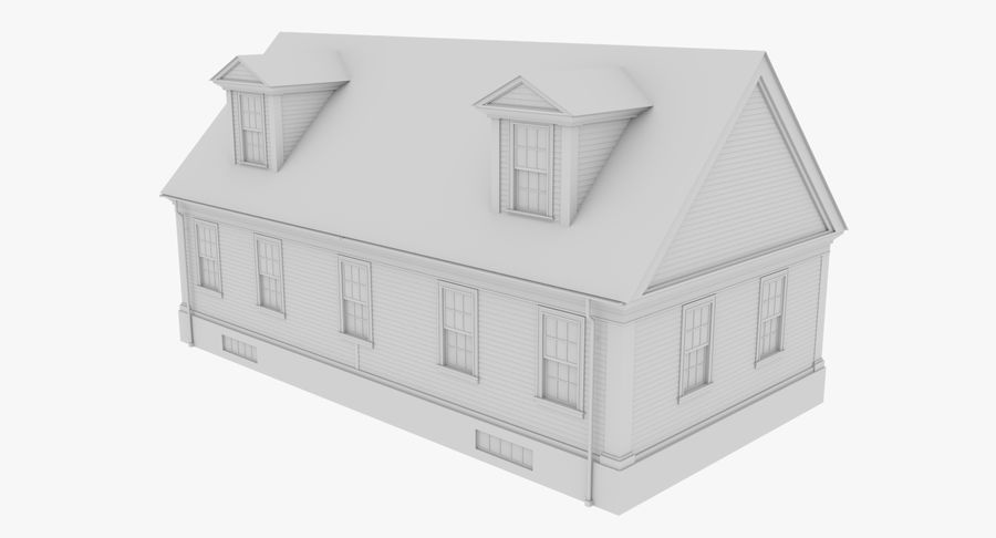 Colonial House 9 Bare Bones Version royalty-free 3d model - Preview no. 5