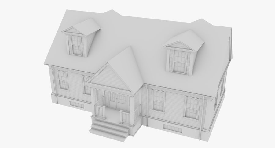 Colonial House 9 Bare Bones Version royalty-free 3d model - Preview no. 3