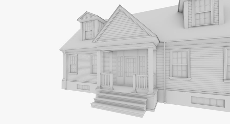 Colonial House 9 Bare Bones Version royalty-free 3d model - Preview no. 7