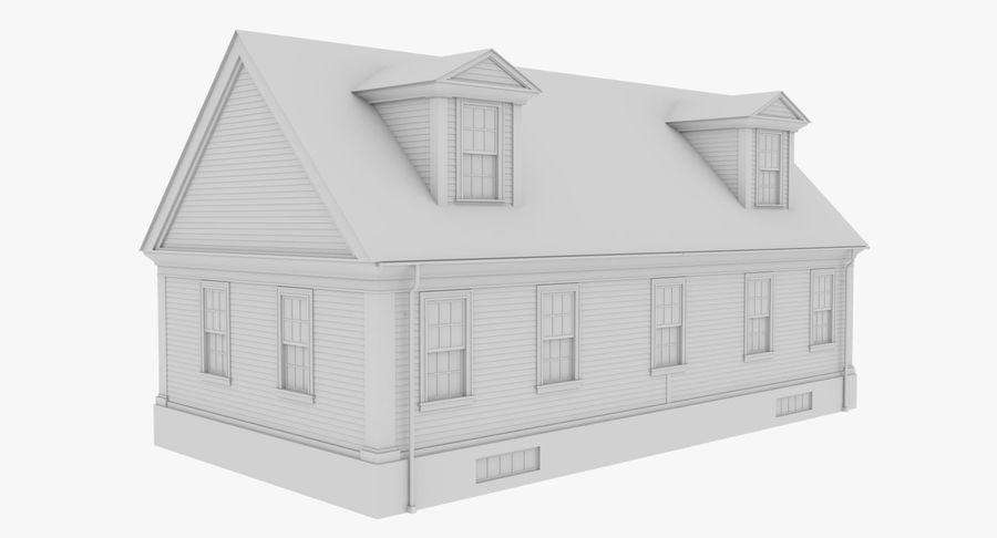 Colonial House 9 Bare Bones Version royalty-free 3d model - Preview no. 6