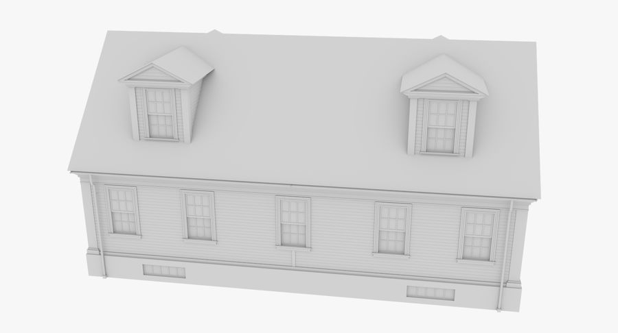 Colonial House 9 Bare Bones Version royalty-free 3d model - Preview no. 9