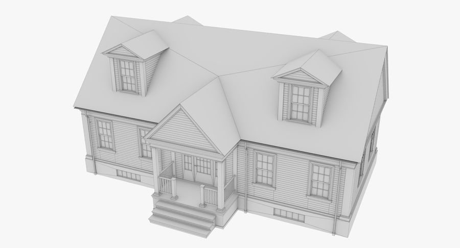 Colonial House 9 Bare Bones Version royalty-free 3d model - Preview no. 11