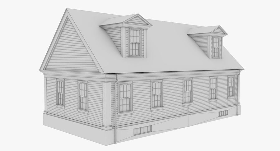 Colonial House 9 Bare Bones Version royalty-free 3d model - Preview no. 14