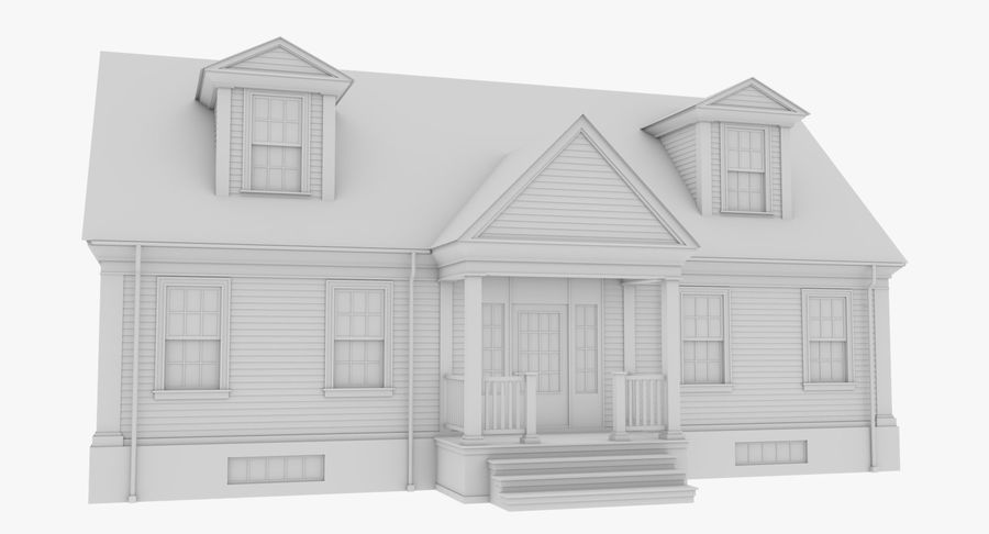 Colonial House 9 Bare Bones Version royalty-free 3d model - Preview no. 8