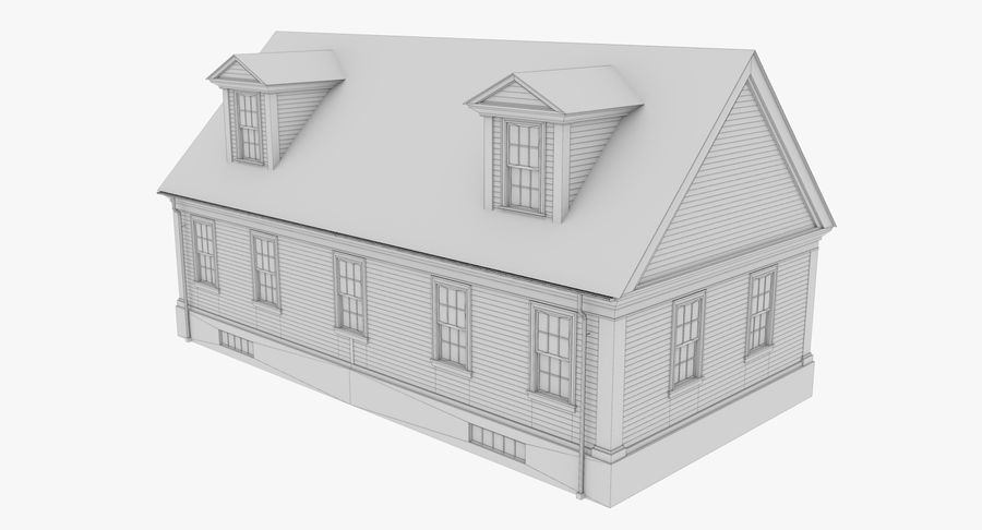 Colonial House 9 Bare Bones Version royalty-free 3d model - Preview no. 13