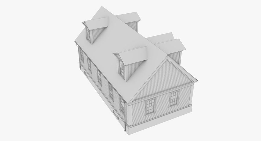 Colonial House 9 Bare Bones Version royalty-free 3d model - Preview no. 18