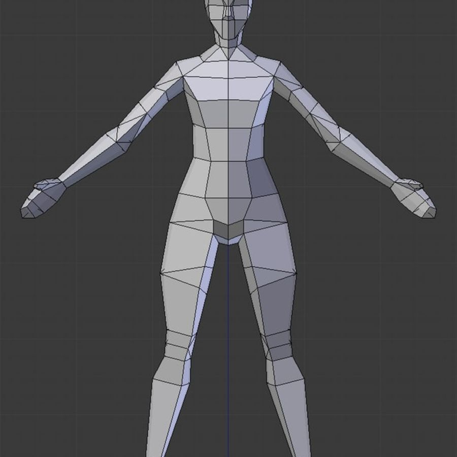 Low poly female model royalty-free 3d model - Preview no. 2