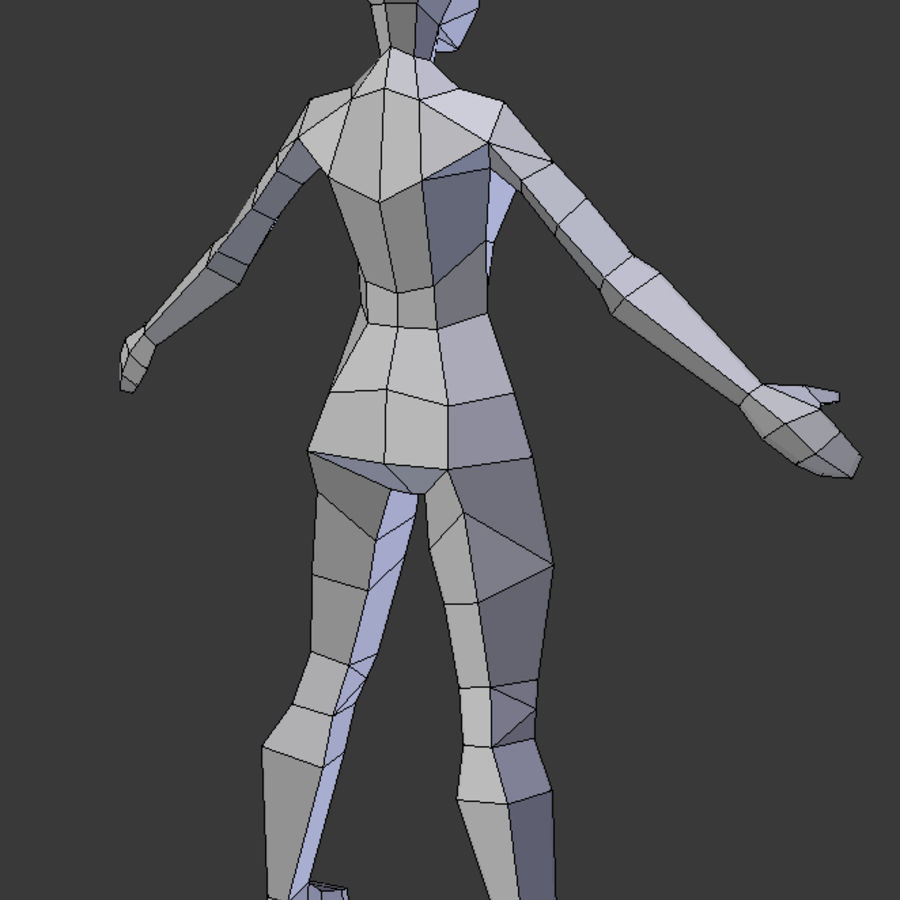 Low Poly weibliches Modell royalty-free 3d model - Preview no. 6