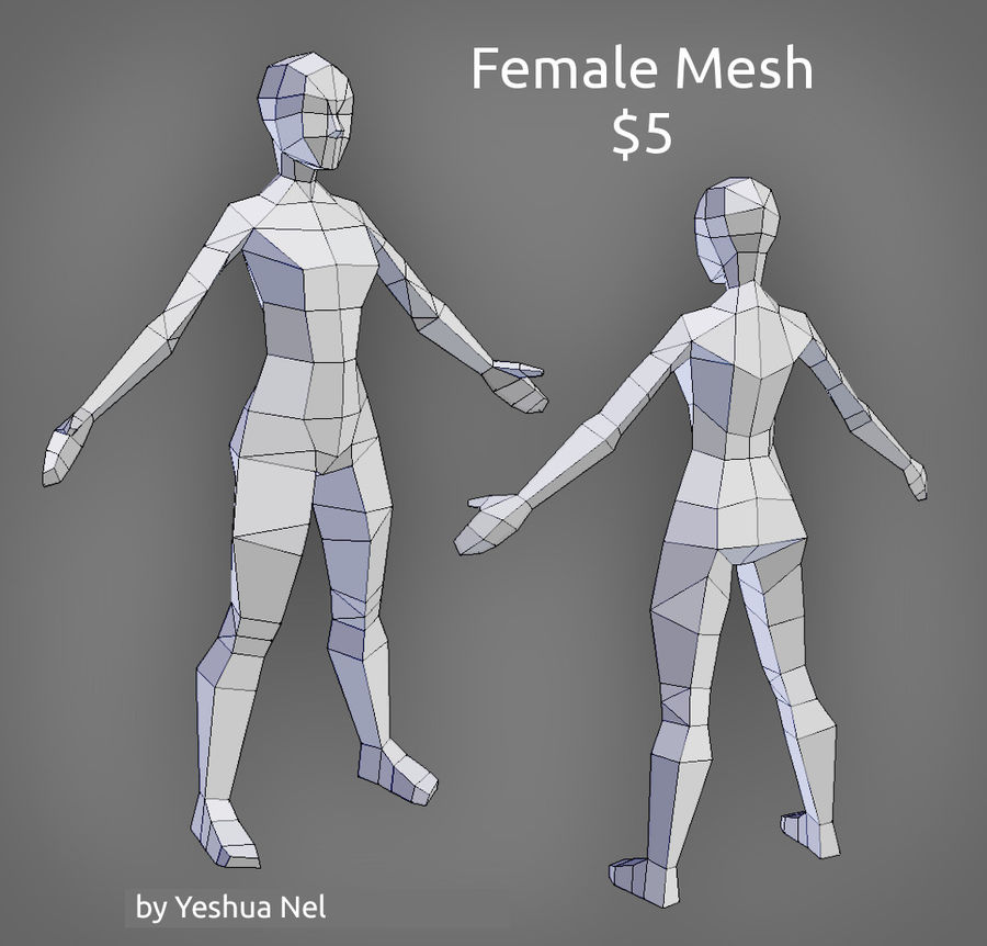Low Poly weibliches Modell royalty-free 3d model - Preview no. 1
