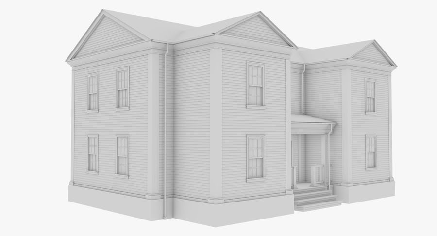 Colonial House 8 Bare Bones Version royalty-free 3d model - Preview no. 4
