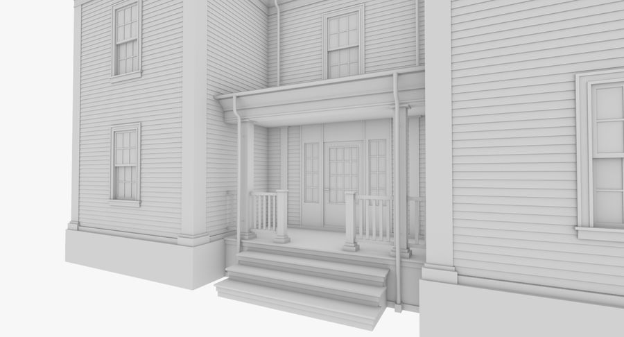 Colonial House 8 Bare Bones Version royalty-free 3d model - Preview no. 7