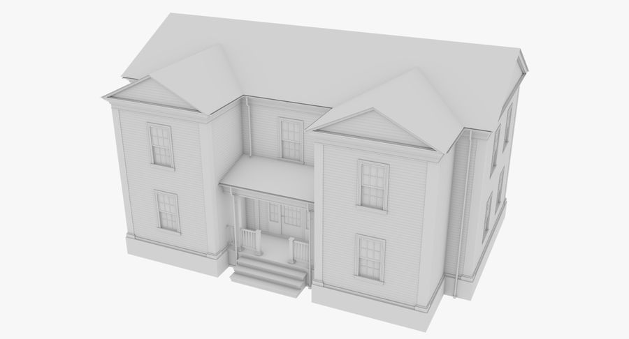 Colonial House 8 Bare Bones Version royalty-free 3d model - Preview no. 3