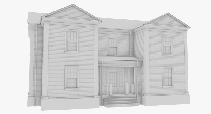 Colonial House 8 Bare Bones Version royalty-free 3d model - Preview no. 8