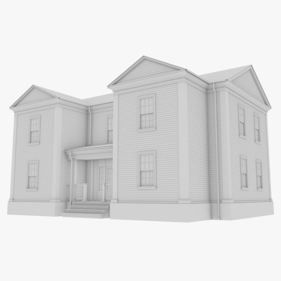 Colonial House 8 Bare Bones Version royalty-free 3d model - Preview no. 1
