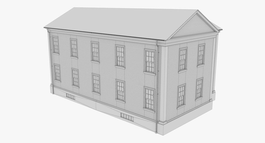 Colonial House 8 Bare Bones Version royalty-free 3d model - Preview no. 13