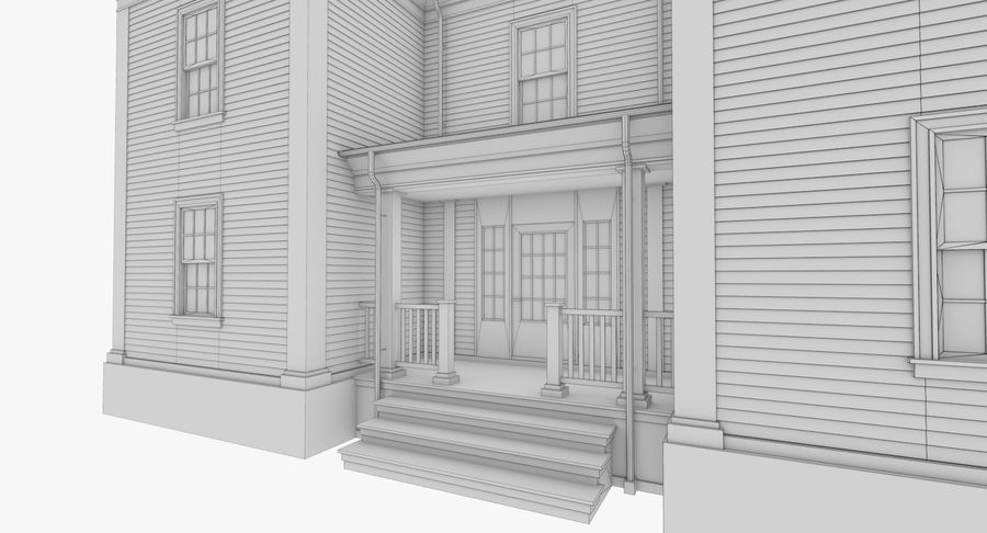 Colonial House 8 Bare Bones Version royalty-free 3d model - Preview no. 15